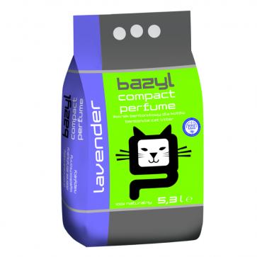 Bazyl, Compact Lavender, drobny, zbrylający się żwirek dla kota o zapachu lawendy, 5,3L