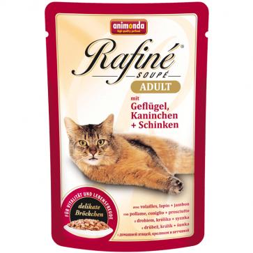 Animonda, Rafiné Soupé, z drobiem, królikiem i szynką, dla dorosłych kotów, saszetka 100g