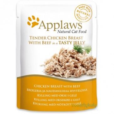 Applaws, Kurczak i wołowina, pokarm dla dorosłego kota, saszetka 70g