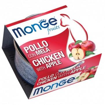 Monge Fruits, Kurczak z jabłkiem, kawałki mięsa w sosie, 80g