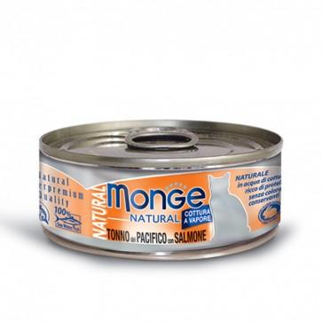 Monge Natural, Tuńczyk żółtopłetwy z łososiem, kawałki mięsa w sosie, 80g