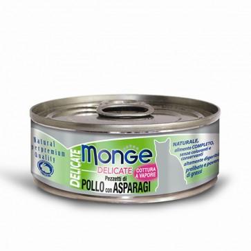Monge Delicate, Kurczak ze szparagami, kawałki mięsa w sosie, 80g
