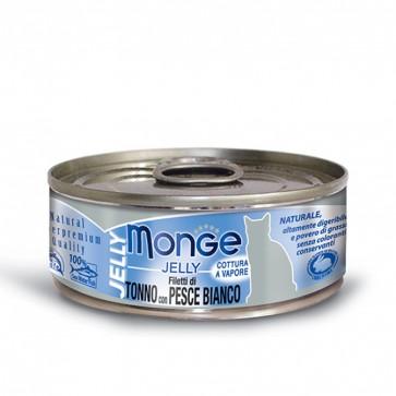 Monge Jelly, Tuńczyk z białą rybą, kawałki mięsa w galarecie, 80g