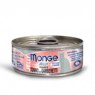 Monge Jelly, Tuńczyk z krewetkami, kawałki mięsa w galarecie, 80g