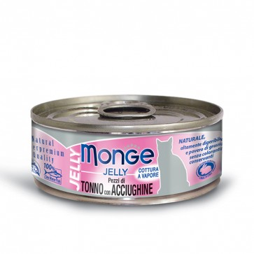 Monge Jelly, Tuńczyk z anchois, kawałki mięsa w galarecie, 80g
