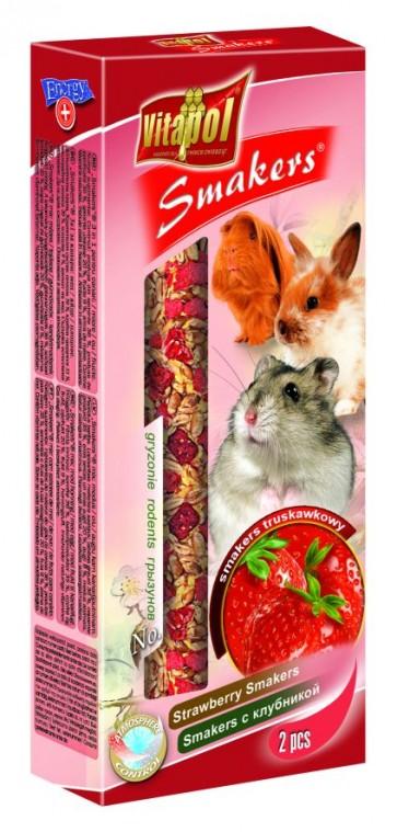 Vitapol, Smakers, Kolba dla gryzoni i królików, truskawkowa, 2 sztuki