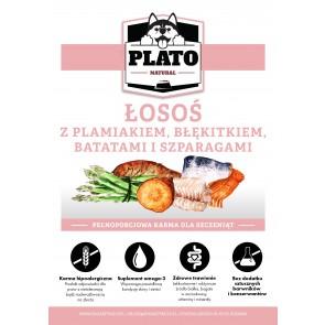 Plato Natural, Puppy, Łosoś z plamiakiem, błękitkiem, batatami i szparagami