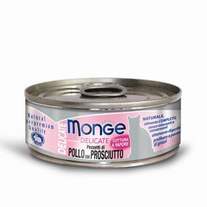 Monge Delicate, Kurczak z szynką, kawałki mięsa w sosie, 80g