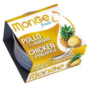 Monge Fruits, Kurczak z ananasem, kawałki mięsa w sosie, 80g