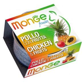 Monge Fruits, Kurczak z owocami, kawałki mięsa w sosie, 80g
