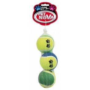 PetNova, Piłka tenisowa z nadrukiem, 6cm, 3 sztuki