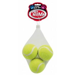 PetNova, Piłka tenisowa, piszcząca, 6cm, 3 sztuki