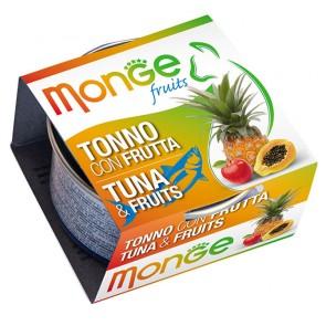 Monge Fruits, Tuńczyk z owocami, kawałki mięsa w sosie, 80g